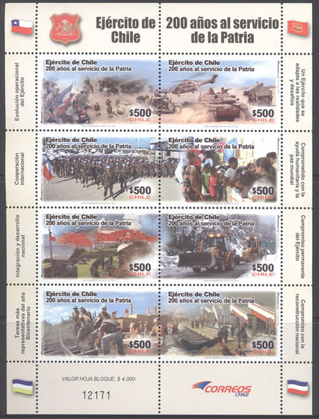 CHILE (2011)- Army Anniversary-Sheet of 8- helicopters- tanks- soldiers