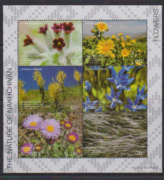 AZERBAIJAN (2019)- Flowers & Grasses - Sheet of 6 & 2 s.s.