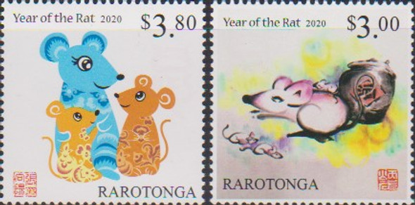 COOK ISLAND (RAROTONGA)- 2020 YEAR OF THE RAT (2V)
