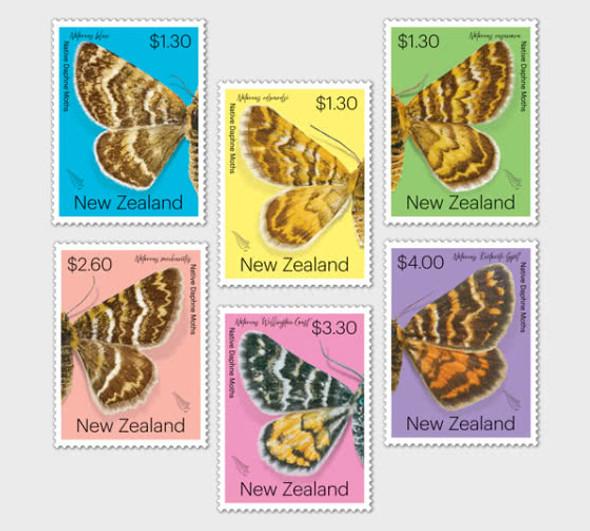 NEW ZEALAND (2020)-NATIVE  DAPHNE MOTHS (6v)