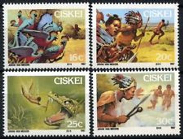 CISKEI (1987) Folklore, Warriors,Birds, Creature (4v)
