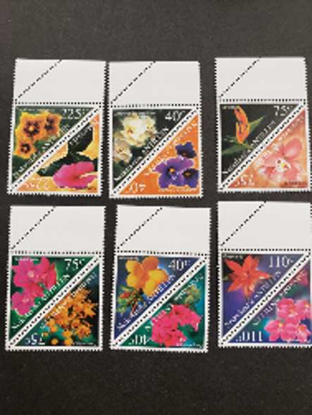 NETHERLANDS ANTILLES (2000) Trianglle Pairs Flora , Flowers (12v)