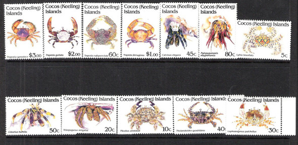 COCOS ISLAND (1992)- Crustaceans Set of 12 values