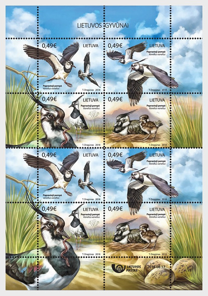 LITHUANIA (2018)- NORTHERN LAPWING BIRD SHEET OF 8v