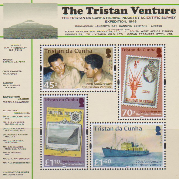 "TRISTAN DA CUNHA (2019)- ""VENTURE EXPEDITION"" SHEET & 4V- STAMPPON-STAMP, SHIP"