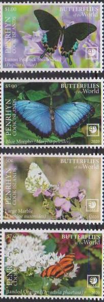 PENRHYN ISLAND  (2020)- Butterflies & Flowers (4v & sheet)