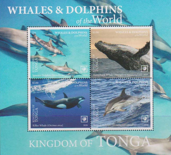 TONGA (2020)- Whales & Dolphins Sheet of 4v