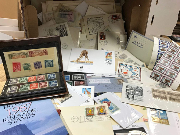 MYSTERY BOX- OVER 500 COVERS, STAMPS, PAGES-- GREAT MIX!