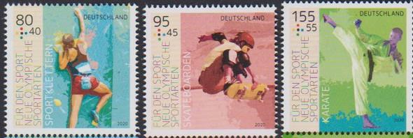 GERMANY (2020)- SPORTS- karate, skateboarding, etc. (3v)- semi-postals