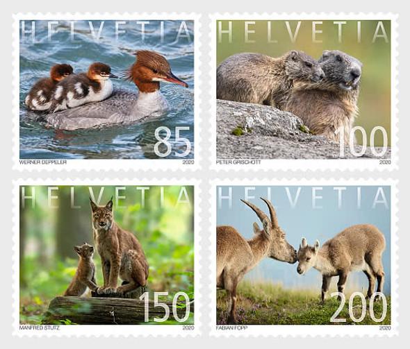 SWITZERLAND (2020)- Animals (4v)- Ducks, Reindeer, etc.