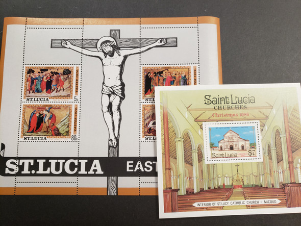 ST LUCIA Souvenir Sheet Blowout 18 Different 40c each !