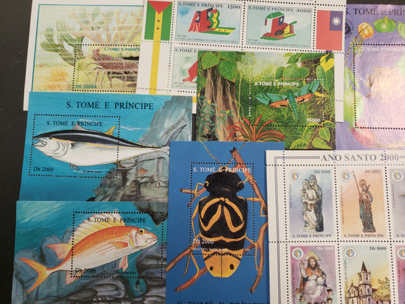 ST THOMAS Souvenir Sheet Collection. LOTS of Topics , Flora, Fauna, Pope, Trains Our Original Retail > $ 280