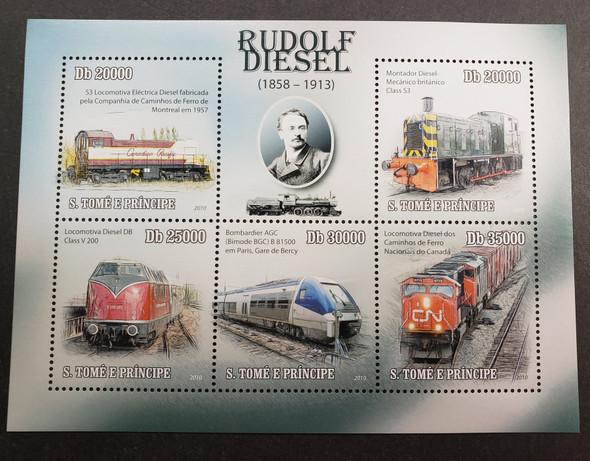 ST THOMAS  (2014) Trains , Rudolf Diesel  Sheet