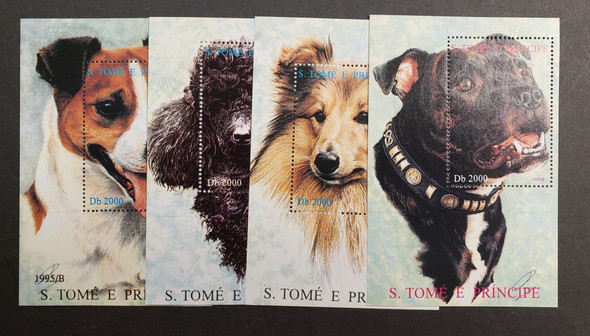 ST THOMAS (1995)  Domestic Dogs SS Sheet Set LAST ONE