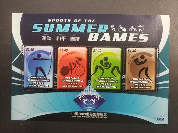 GRENADA GRENADINES  (2009) China World Stamp Exhibition  Sports Of Summer Games Sheet