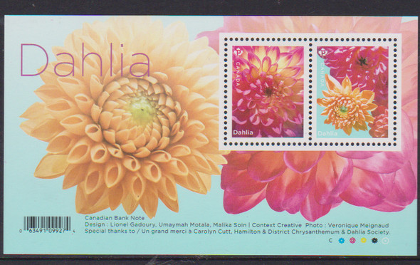 CANADA (2020)- Dahlias (Flower), souvenir sheet