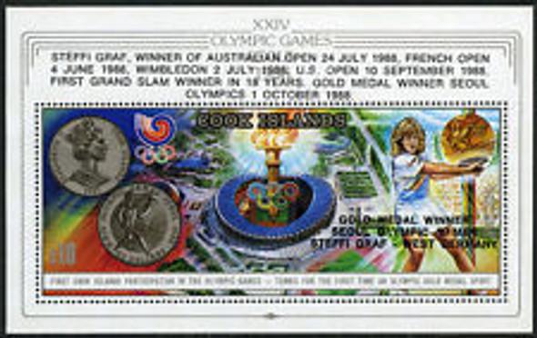 COOK ISLAND (1988) Seoul Olympics Sheet W/ Overprint