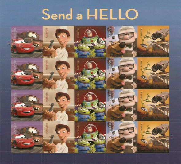 "US (2011)- PIXAR ""SEND A HELLO"" SHEET OF 20- CAT VALUE=$36!"