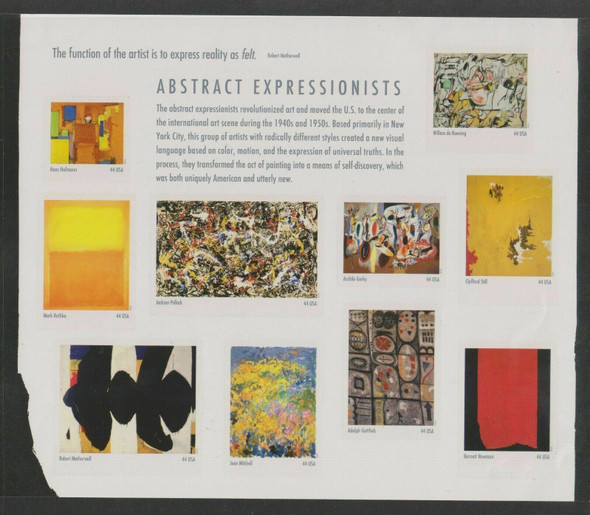 US (2010)- ABSTRACT EXPRESSIONISTS SHEET OF 10v (SCOTT #4444)