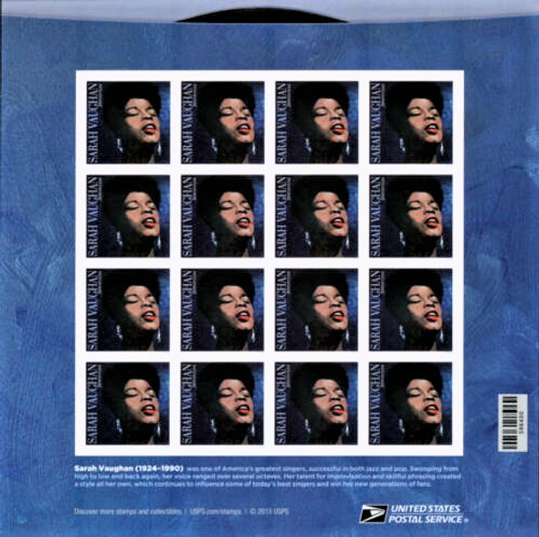 US (2016) SARAH VAUGHAN SHEET OF 16v (2016)- #5059