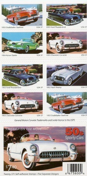US (2005)- #3935b- SPORTY CARS OF THE 1950'S (BOOKLET)