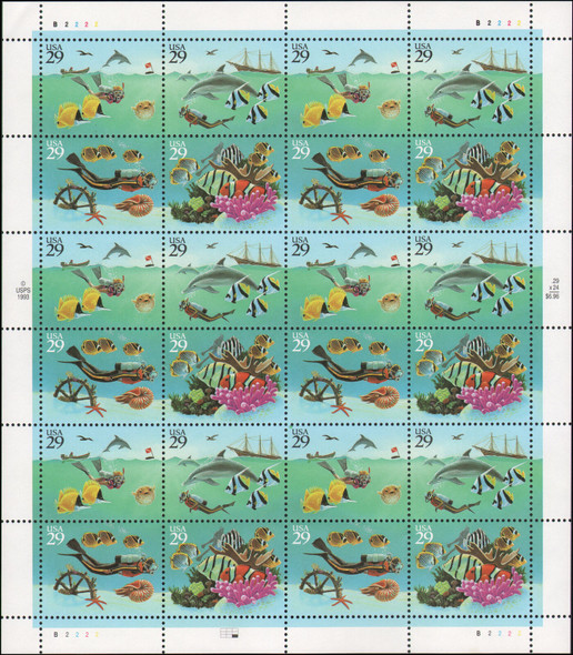 US (1994) - WONDERS OF THE SEA SHEET- DIVER,DOLPHINS, ETC.