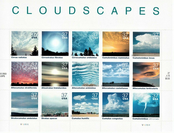 US (2004)- CLOUDSCAPES SHEET OF 15v - #3878