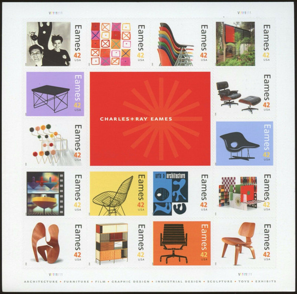 US (2008)- Charles & Ray Eames Design Sheet of 16v-#4333