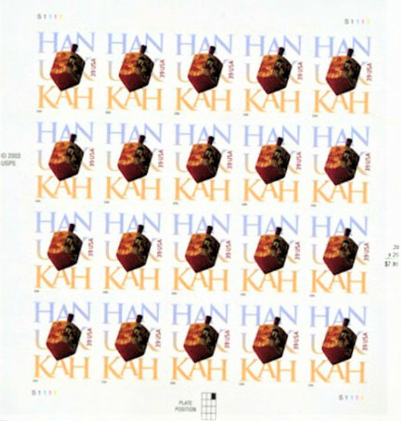 US (2004) 37c HANUKKAH SHEET OF 20V- #3880