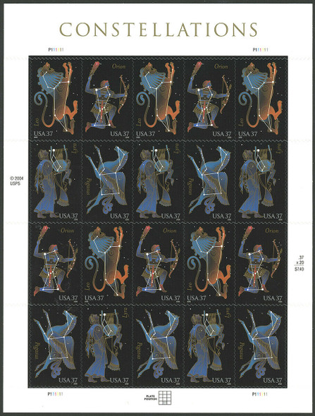 US (2005)- CONSTELLATIONS- SHEET OF 20v- #3945-8