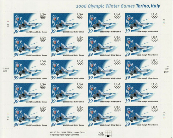 US (2006)- Olympic Winter Games  (Skiing)-Torino, Italy- Sheet of 20-#3995