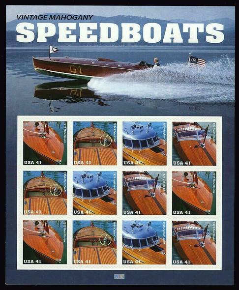 US (2007)-VINTAGE MAHOGANY SPEEDBOATS SHEET OF 12v- #4163A