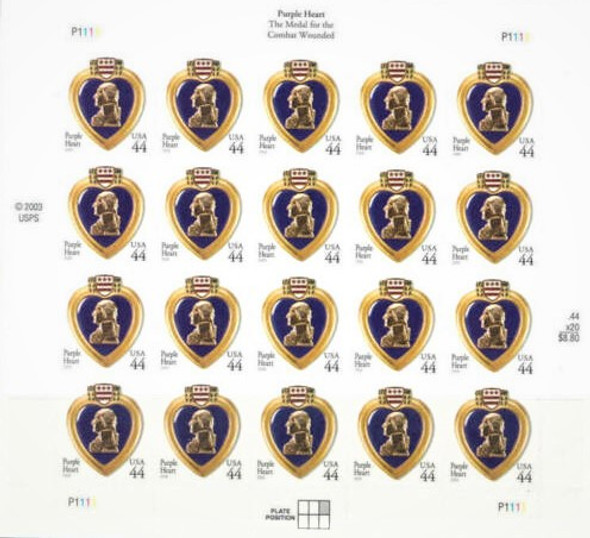 US (2009)- PURPLE HEART MEDAL (44c) SHEET OF 20-#4390