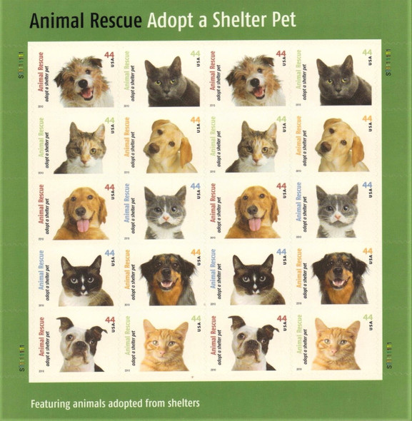 US(2010)-ADOPT A SHELTER PET (DOGS & CATS) SHEET- #4460A