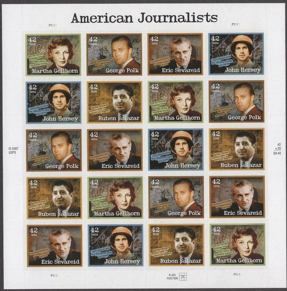 US (2008)- AMERICAN JOURNALISTS SHEET OF 20v- #4248-52