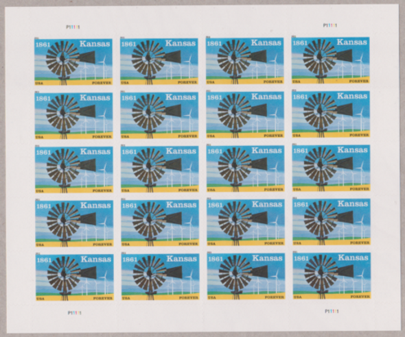 US (2011)-KANSAS (WIND TURBINES) SHEET OF 20 FOREVER-#4493