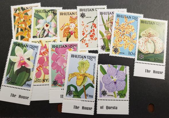 BHUTAN (1990) Orchids (12v) 1 V Torn