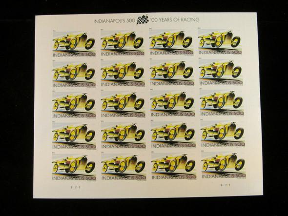 US (2011)- INDIANAPOLIS 500 CAR RACING CENTENIAL SHEET OF 20-#4530