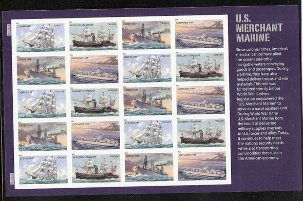 US (2011)-MERCHANT MARINE SHEET OF 20 (#4548-51)