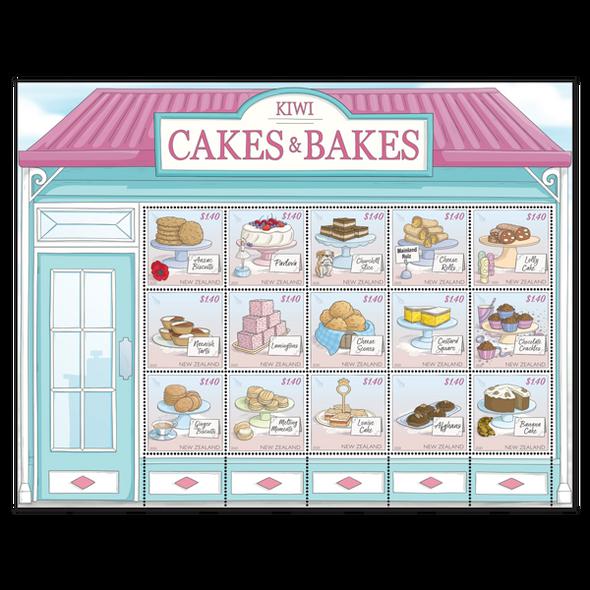 NEW ZEALAND (2020)- Kiwi- Cakes & Bakes Sheet of 15 stamps