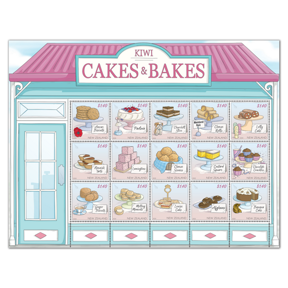 NEW ZEALAND (2020)- Kiwi- Cakes & Bakes Sheet of 15 stamps