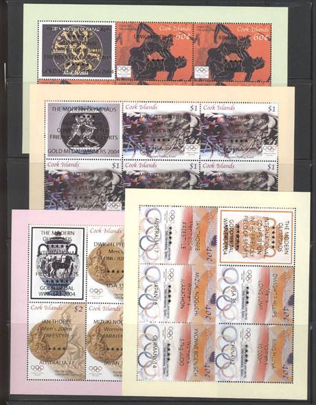 COOK ISLANDS (2006) Athens 2005 Olympics Sheetlets of 5 w/ ovpt. of Gold Medal Winners (4)