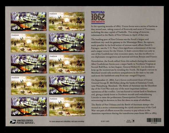 US (2012)- CIVIL WAR #4665a- 1862 SHEET