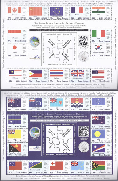 COOK ISLANDS (2012)- The Pacific Islands Forum- Sheets of 14 & 16- flags of countries (2)