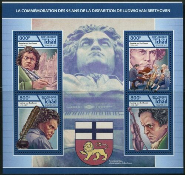 CHAD (2019)BEETHOVEN Sheet of 4v & souvenir sheet