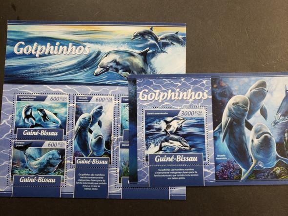 GUINEA BISSAU (2017) Dolphins Deluxe Sheet & Souvenir Sheet
