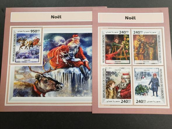 DJIBOUTI (2017) Christmas , Santa Claus Sheet & souvenir sheet