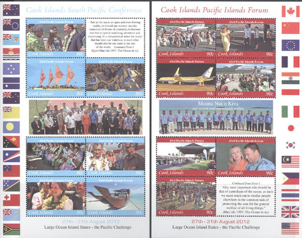 COOK ISLANDS (2013)- 43rd Pacific Islands Forum 2012- Sheets of 7- Hilary Clinton (2)