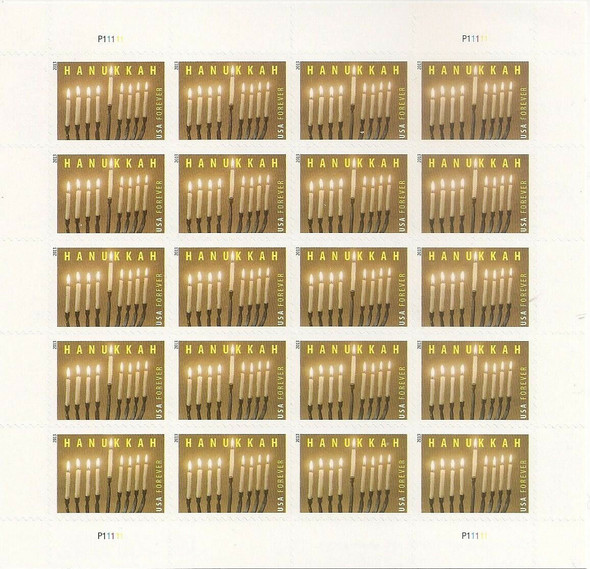 US (2013)- Hanukkah Sheet of 20 (Candles & Menorah) #4824