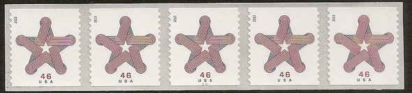 US (2013)- Patriotic Star Ribbon Coil Strip of 5- #4749